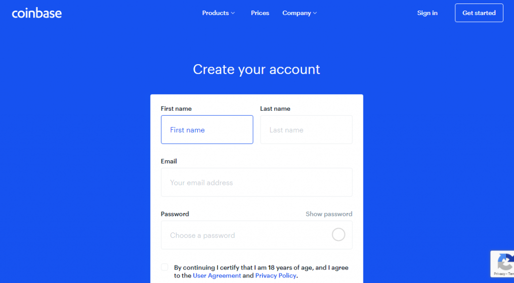 coinbase create register sign up account