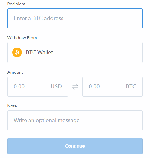 coinbase send bitcoin